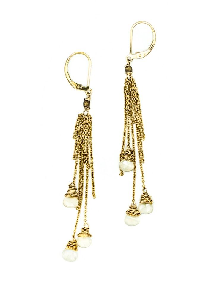 pearl chalcedony firework deli tassel earrings