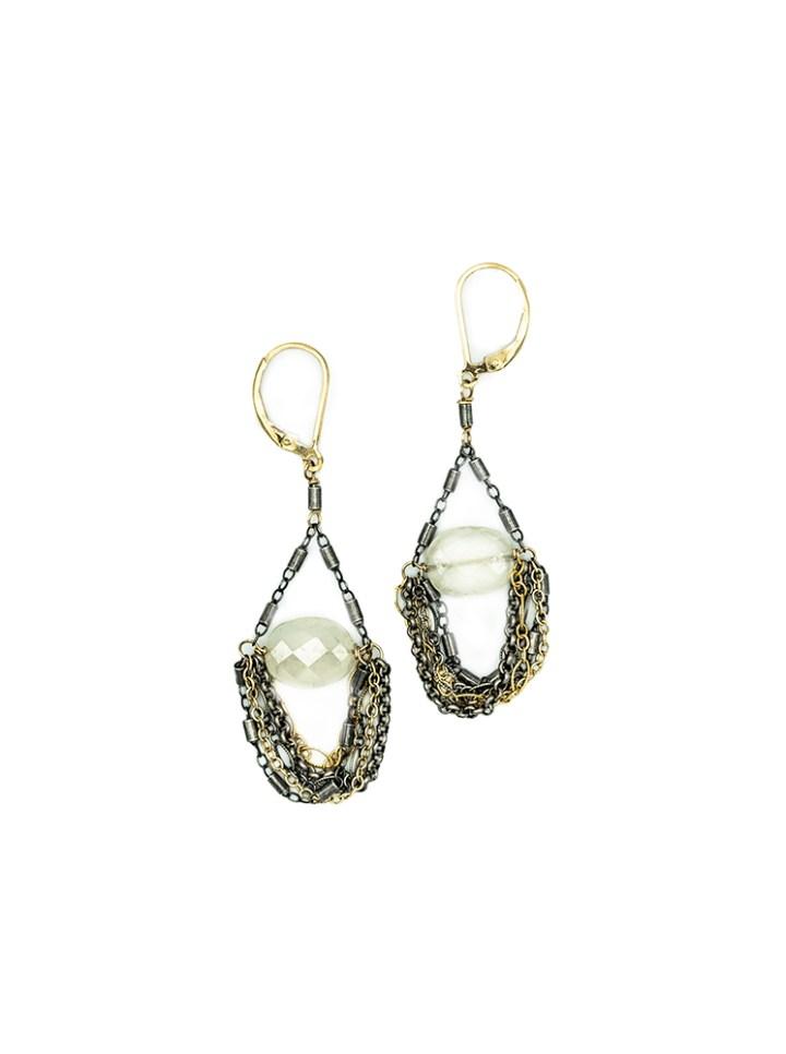 pearl chalcedony mixed chain swing earrings
