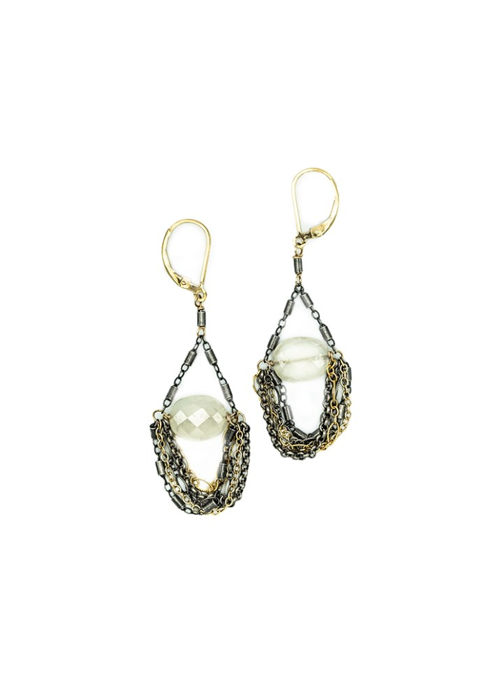 pearl chalcedony mixed chain swing earrings