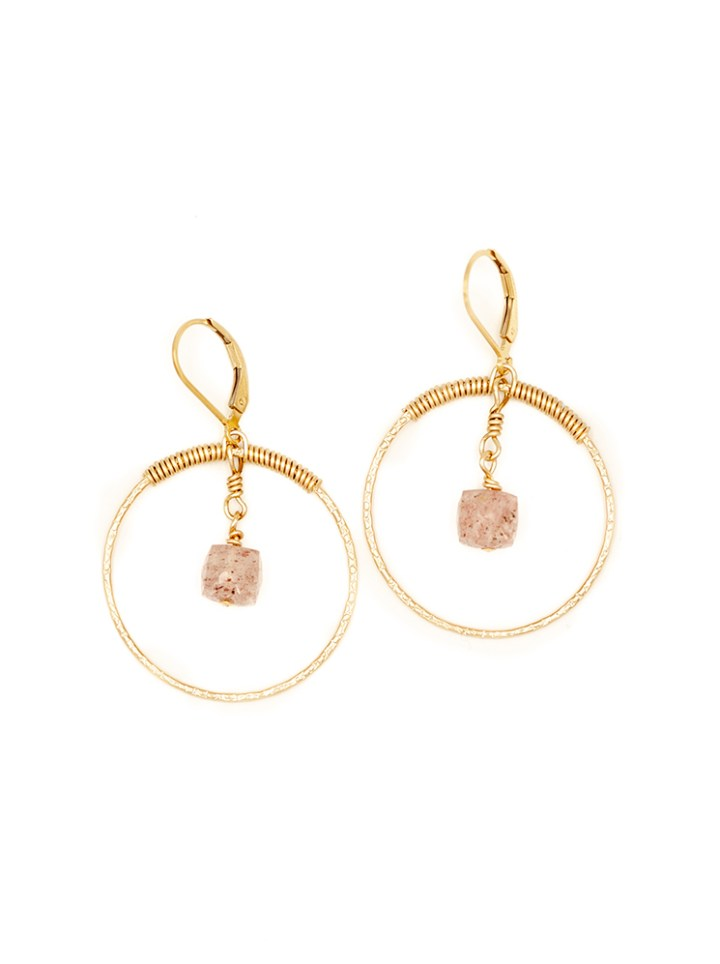 strawberry quartz hammered halo hoops
