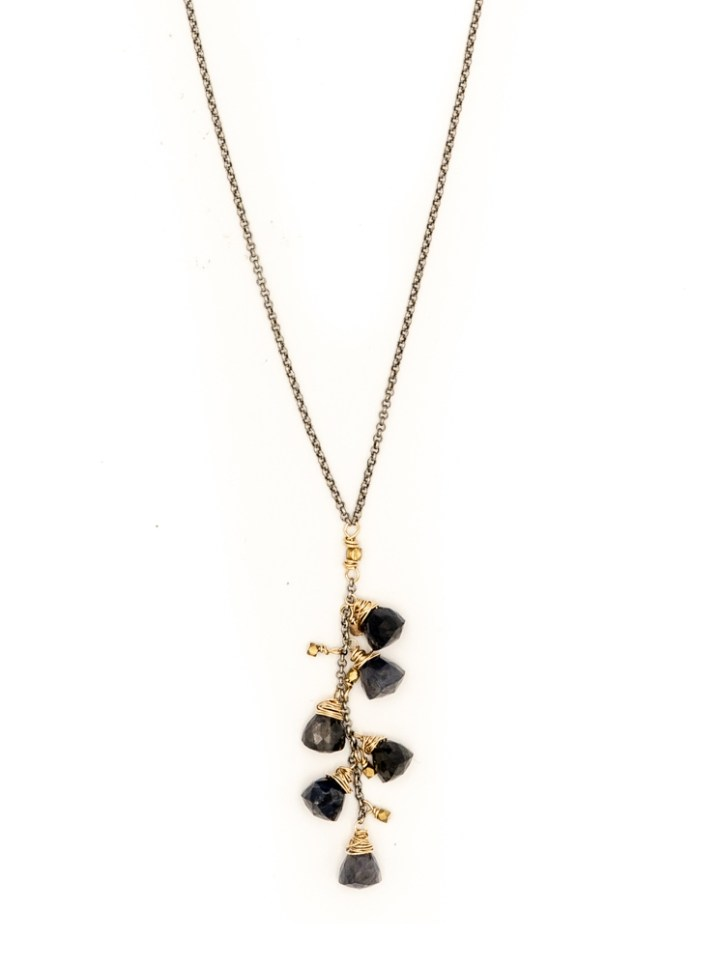iolite pyramid cluster rolo long necklace