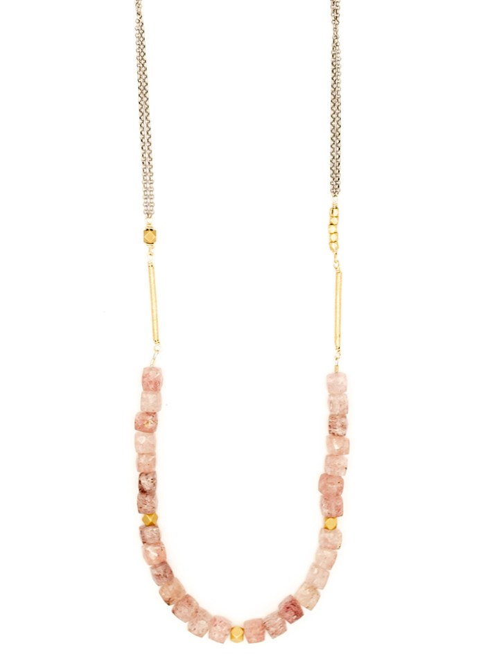 strawberry quartz strung long necklace