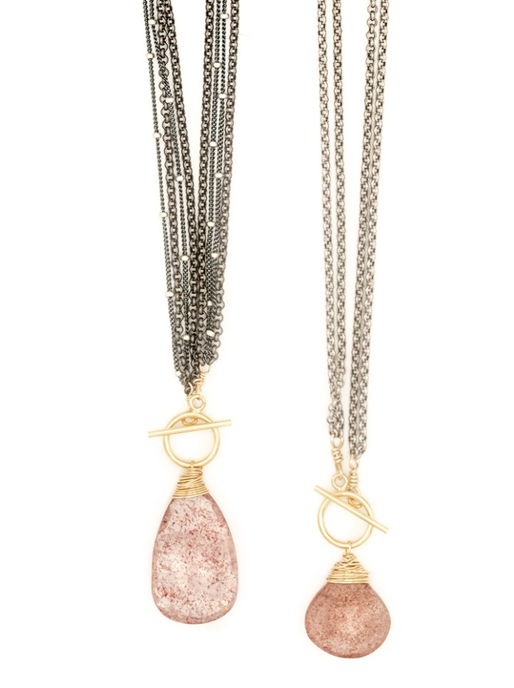 strawberry quartz mixed metal toggle necklaces