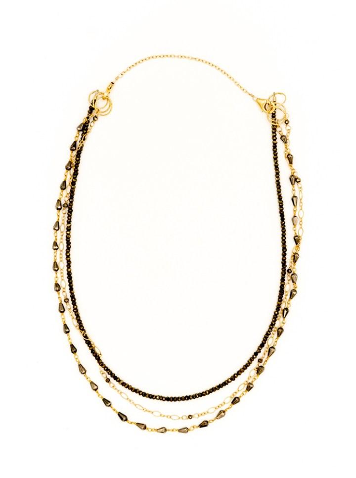 pyrite triple strand necklace