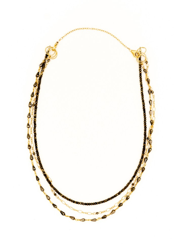 pyrite triple strand necklace