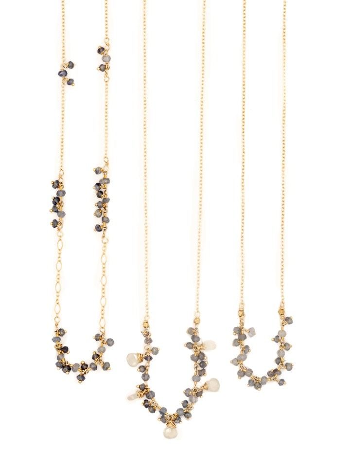 iolite hand crafted cluster delicate necklaces