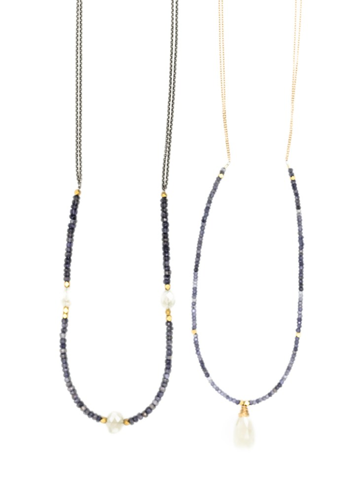 iolite pearl chalcedony strung long necklaces