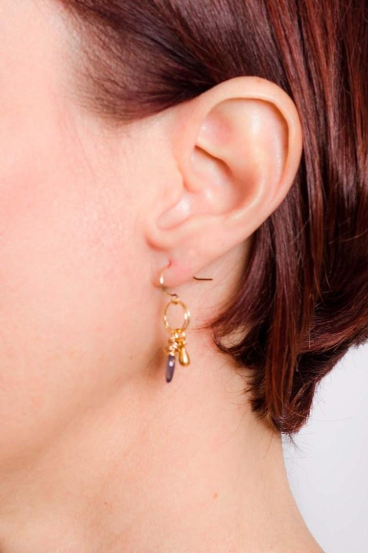 iolite and teardrop stardust cluster earrings