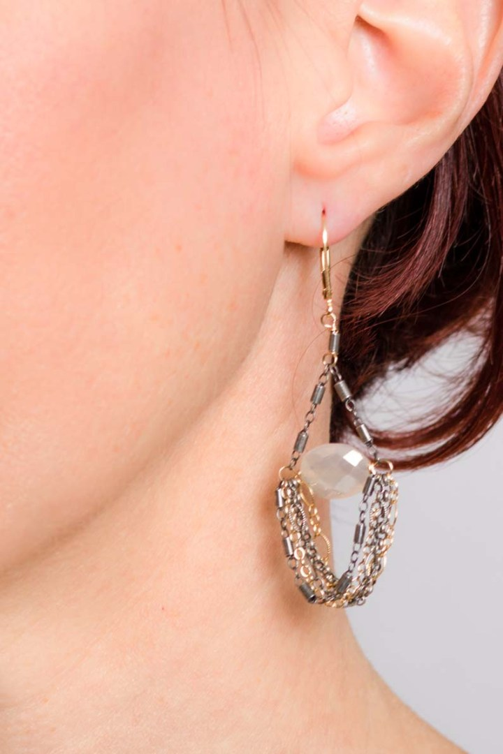 pearl chalcedony mixed chain swing earrings on model