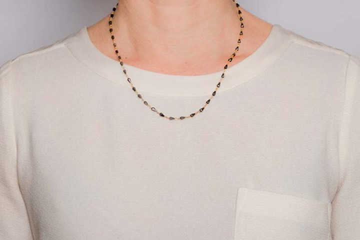 triple strand mixed chain necklace on model