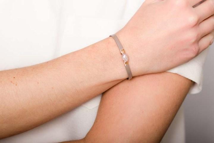 CB279 rose quartz thin leather wrapped bracelet