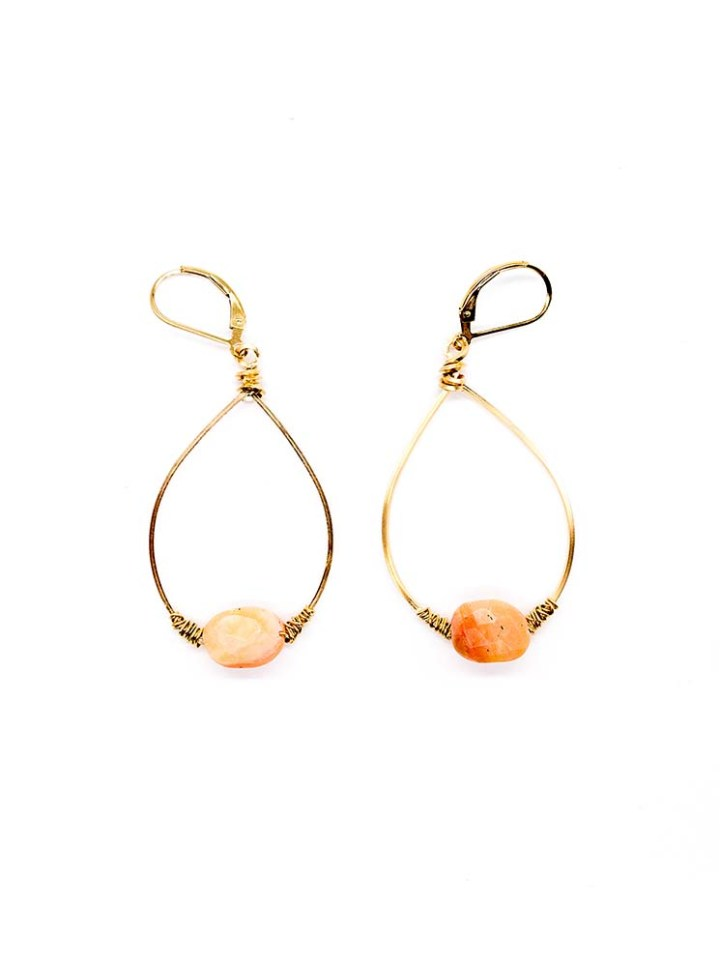 pink opal small wrapped hoop