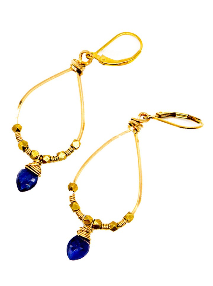 Iolite hand wrapped hoops