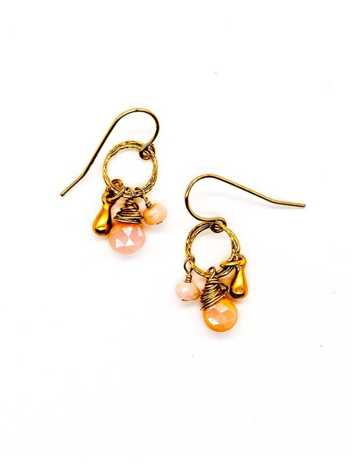 pink opal stardust cluster drop earrings