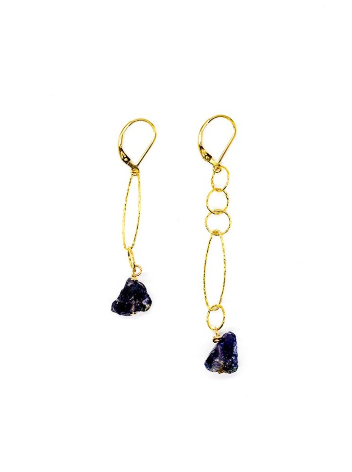 Iolite mismatch linear earrings 14k gold filled handcrafted earrings