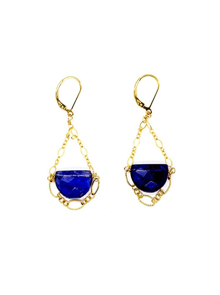iolite filigree chandelier earrings 14k gold filled, handcrafted jewelry