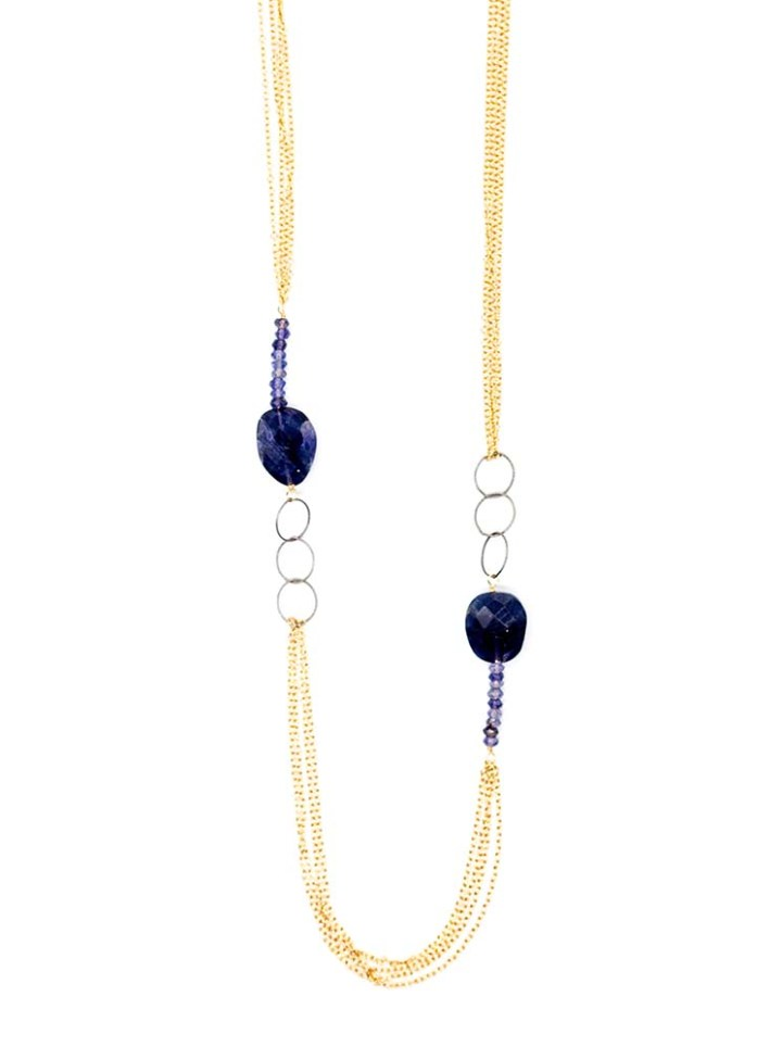 iolite xl mixed chain long necklace
