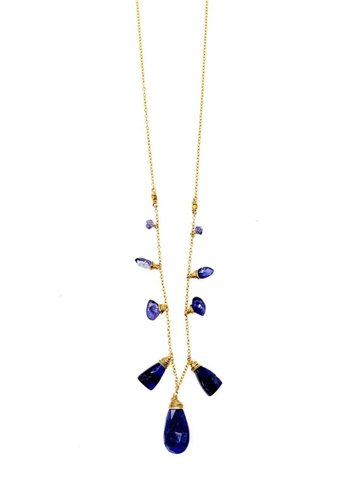 iolite graduated statement necklace handcrafted jewelry made in 14k gold filled