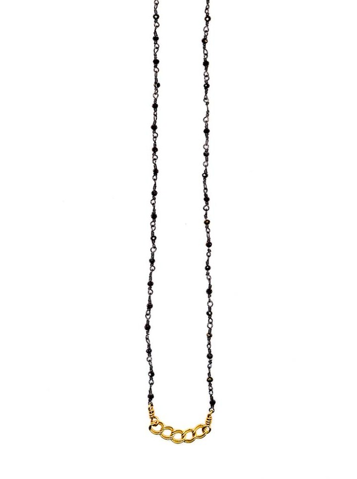 Delicate rosary and curb layering necklace