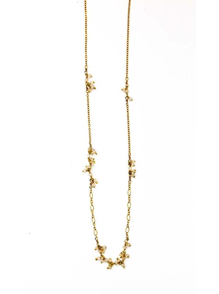 Moonstone cluster filigree short necklace