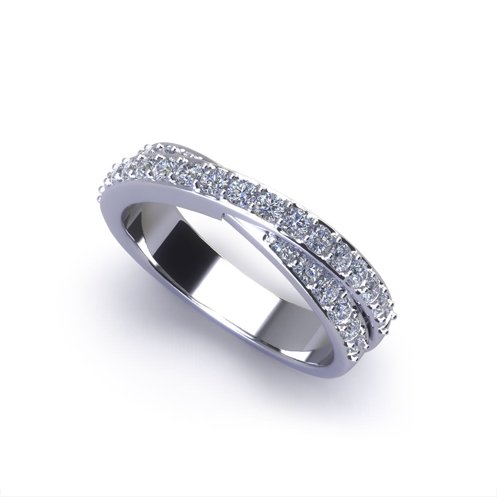 Crossover Diamond Wedding Ring Jewelry Designs