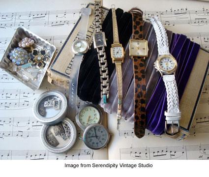 items needed to make a vintage velvet ribbon slide bracelet