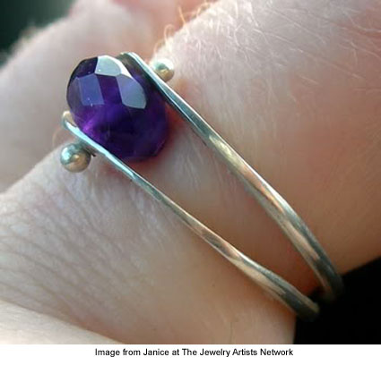 Dual ball ring from Janice at The Jewelry Artists Network