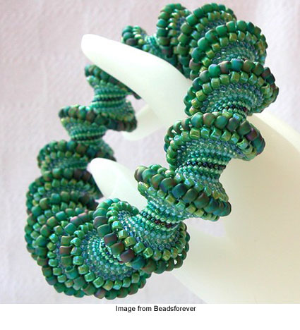 circular peyote stitch bracelet called Going Green from Beadsforever