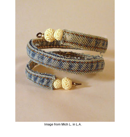 upcycled jean bracelet
