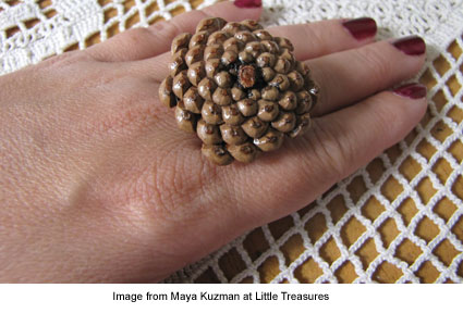 ring made from a fir cone