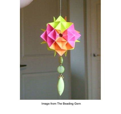 origami and beaded holiday ornament