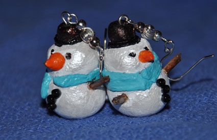 snowman earrings from Stacie at CraftGossip
