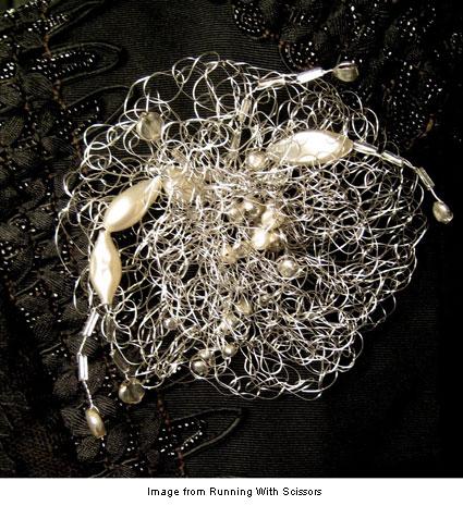 crocheted wire brooch