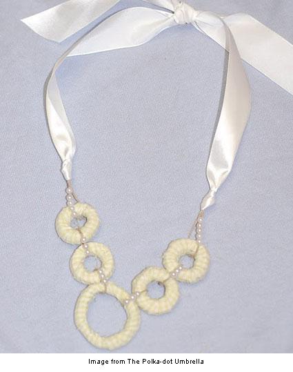 fabric beaded necklace from the Polka-dot-Umbrella