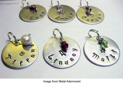hand stamped metal pendants from Metal Adornment