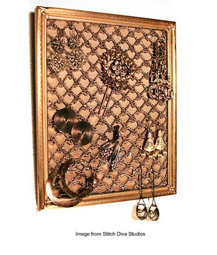 framed lace stretched over fabric to hold jewelry
