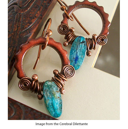 the Cerebral Dilettante's earrings made from ceramic gears