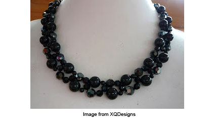 black swan necklace from XQDesigns