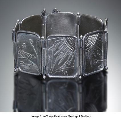 metal clay bracelet with hinges