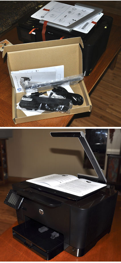 HP TopShot LaserJet Pro went from its carton to ready for use in about 15 minutes.