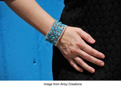 wire wrapped beaded cuff bracelet