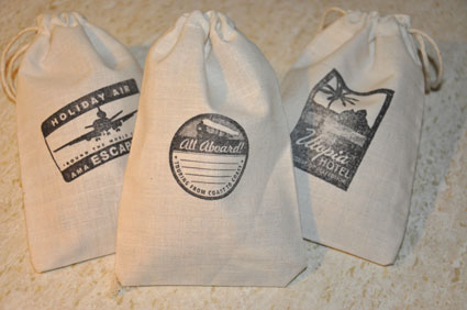 Filled State Line bags ready for giveaway