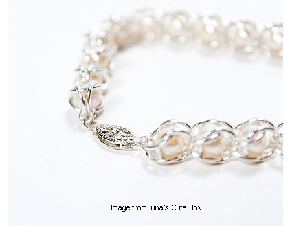 Chainmaille and pearl bracelet from Irina's Cute Box