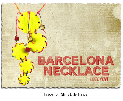 The Barcelona Necklace featuring Elaine Ray ceramic discs.