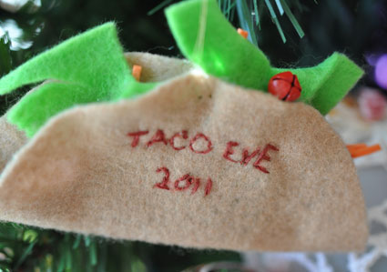 Taco Eve ornament made of felt.