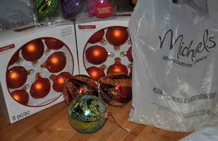 Ready-made ornaments waiting ot be hung on the tree.