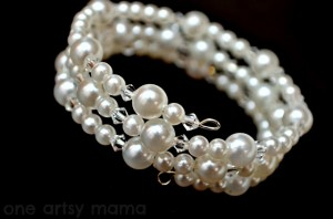 Pearl and Crystal Wire Bracelet