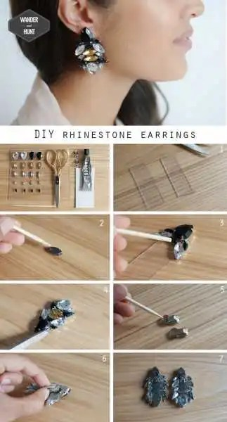 DIY Rhinestone Earrings