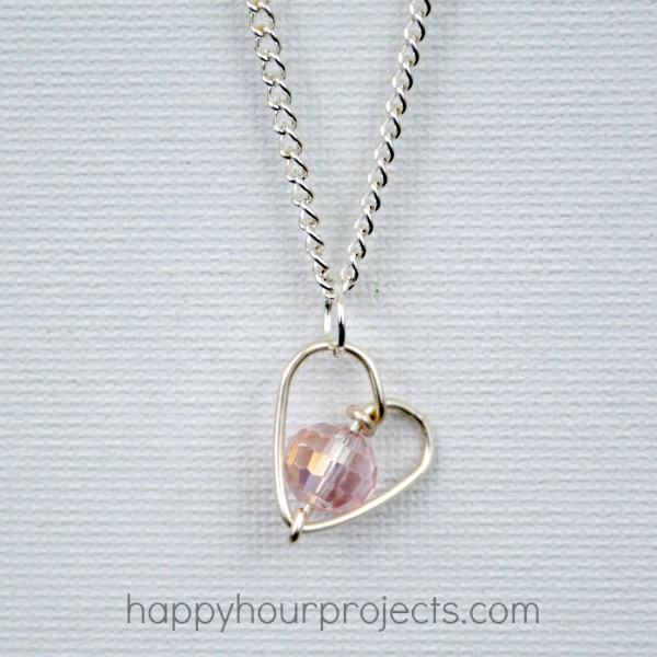 DIY Wire Wrapped Heart Necklace