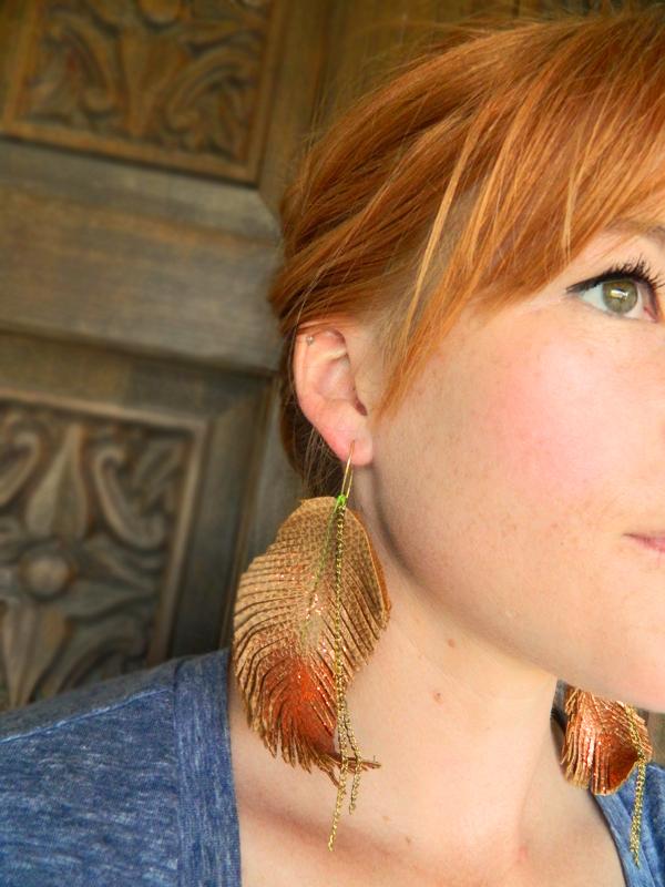 diy boho leather feather earrings 3